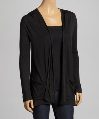 Black Pocket Open Cardigan