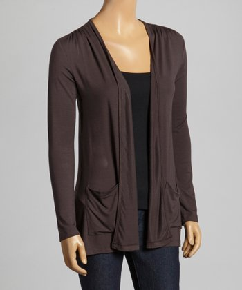 Brown Pocket Open Cardigan