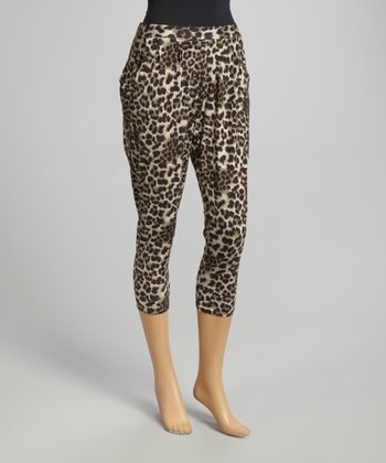 Gray & White Leopard Pleated Harem Pants