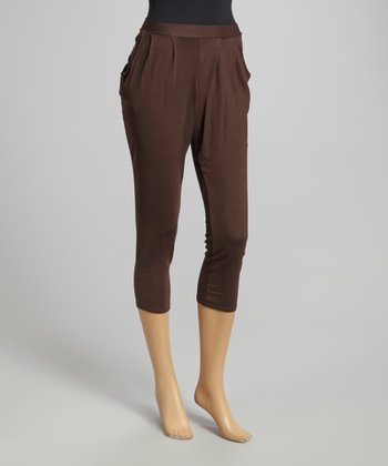 Brown Pleated Harem Pants