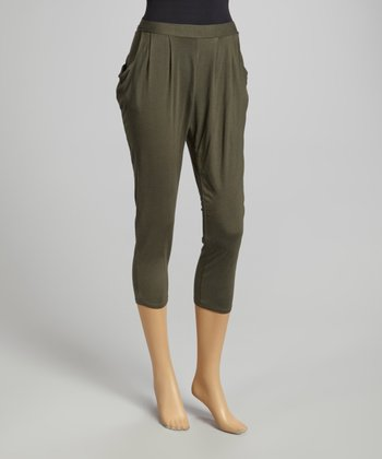 Olive Pleated Harem Pants