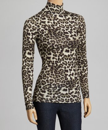 Brown & Black Leopard Turtleneck