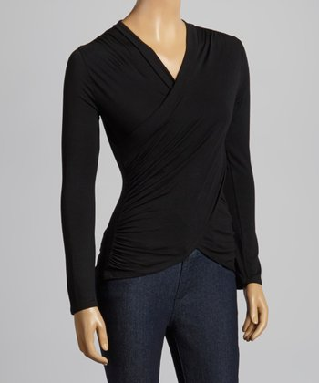 Black Drape Surplice Top