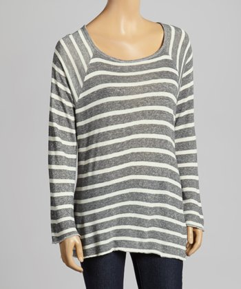 Heather Gray & White Stripe Top