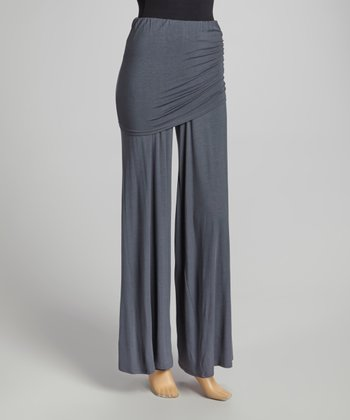 Dark Gray Fold-Over Palazzo Pants