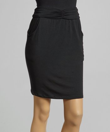 Black Cinch-Waist Skirt