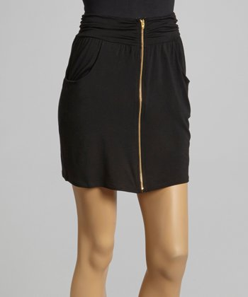 Black Pocket Zip Skirt
