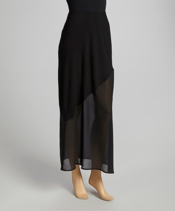 Black Asymmetrical Maxi Skirt