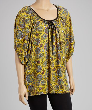 Yellow Paisley Tie-Neck Tunic - Plus