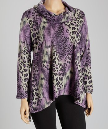 Purple Animal Drape Neck Tunic - Plus