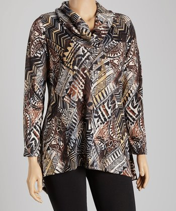 Beige & Black Tribal Drape Neck Tunic - Plus