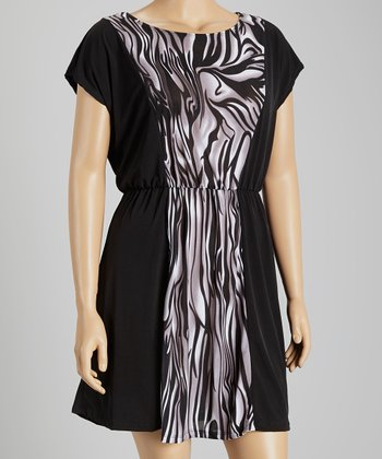 Black & Charcoal Abstract Color Block Dress - Plus