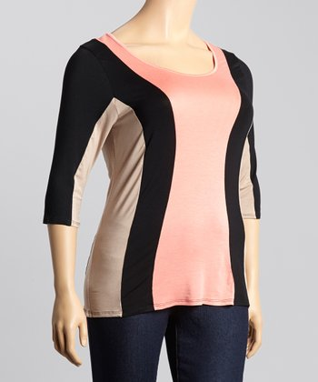 Coral & Tan Color Block Dolman Top - Plus