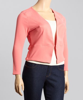 Coral Chic Blazer - Plus
