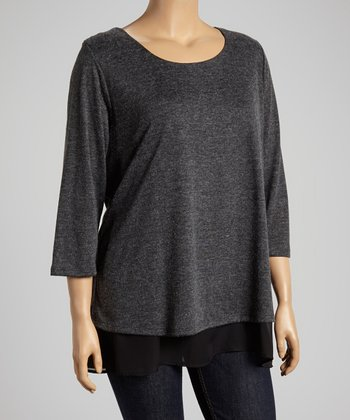 Charcoal & Black Sheer Hem Tunic - Plus