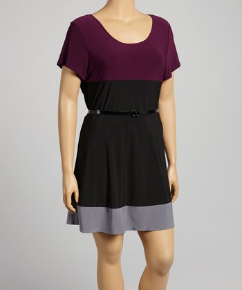 Purple & Black Belted Dress - Plus