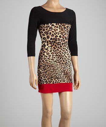 Black & Red Leopard Color Block Dress