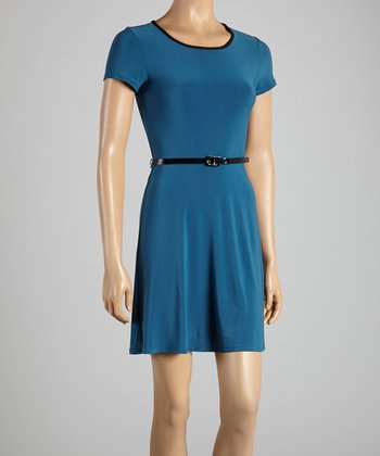 Teal Belted Dress