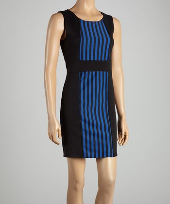 Black & Royal Blue Stripe Dress