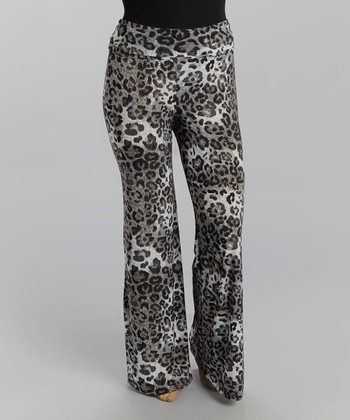 Black & White Leopard Palazzo Pants - Plus