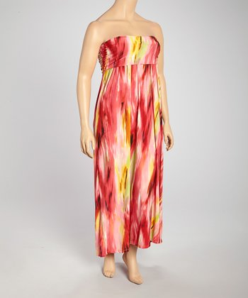 Pink & Yellow Brushstroke Strapless Maxi Dress - Plus