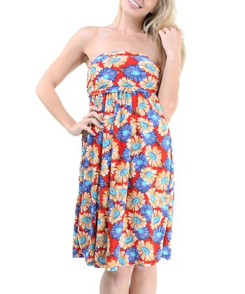 Red & Blue Daisy Strapless Dress - Women & Plus