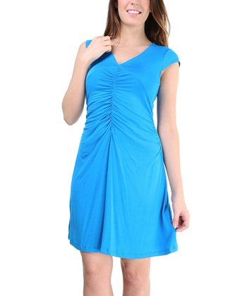Turquoise Ruched Cap-Sleeve Dress - Women & Plus
