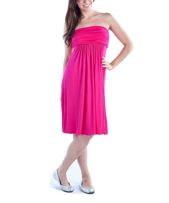 Pink Ruched Strapless Dress - Women & Plus