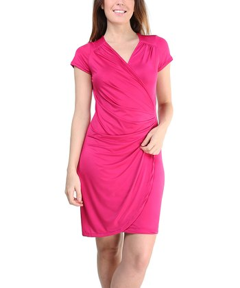 Pink Surplice Ruched Dress - Women & Plus