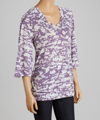 Purple & White Abstract Hoodie - Women & Plus