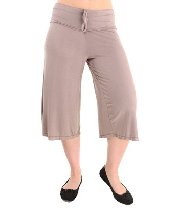 Taupe Cropped Wide-Leg Pants - Women & Plus