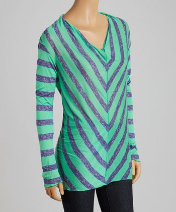 Teal & Blue Chevron Hooded Top - Women & Plus