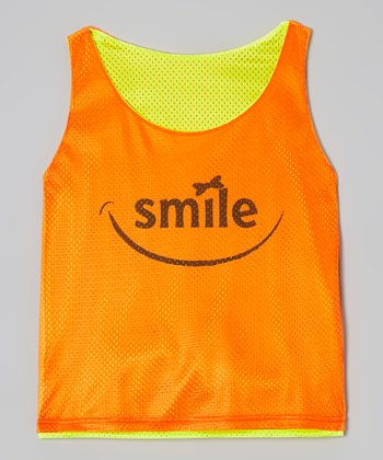 Fit 2 Win Sportswear Neon Orange & Yellow 'Smile' Reno Mesh Tank - Toddler & Girls