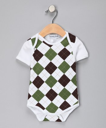 Green & Brown Argyle Bodysuit - Infant