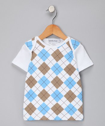 Blue & Khaki Argyle Tee - Toddler