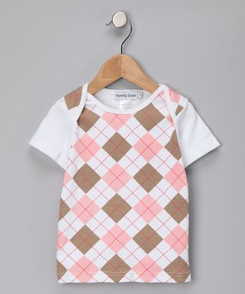 Pink & Khaki Argyle Tee - Girls