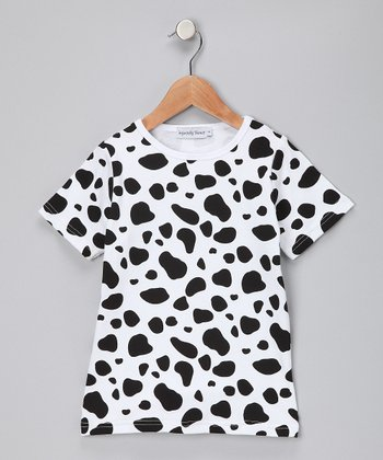 Black & White Cow Tee - Girls