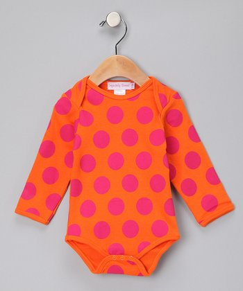 Orange & Hot Pink Polka Dot Long-Sleeve Bodysuit - Infant