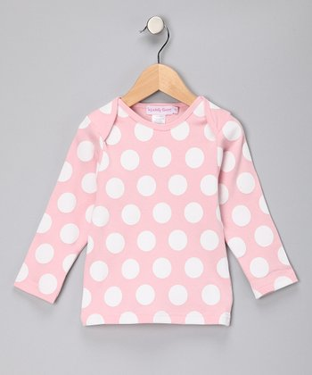 Pink & White Polka Dot Long-Sleeve Tee - Girls