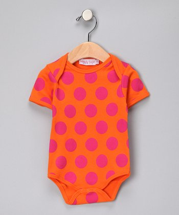 Orange & Hot Pink Polka Dot Bodysuit - Infant