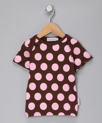 Brown & Pink Polka Dot Tee - Toddler