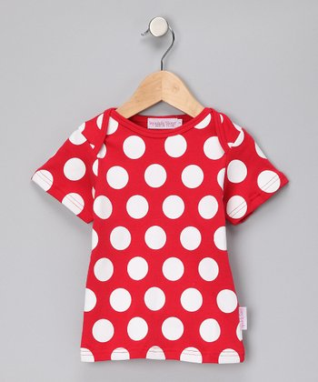 Red & White Polka Dot Tee - Girls