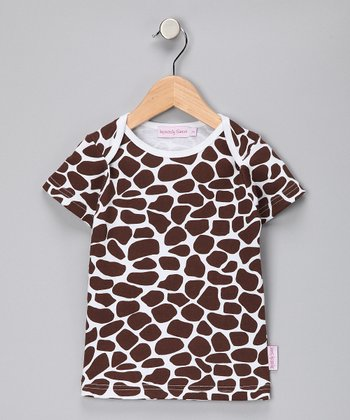 Brown & White Giraffe Tee - Girls