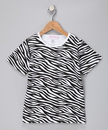 Black & White Zebra Tee - Girls