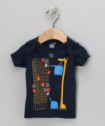 Navy The Fire Brigade Went on Strike Lapneck Tee - Infant