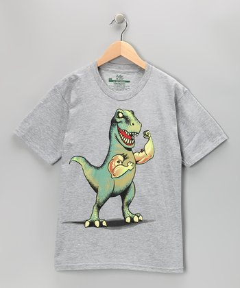 Heather Grey T-Rex Big Arms Tee - Boys