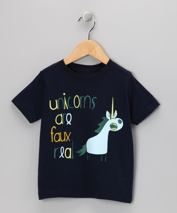 Navy 'Faux Real' Tee - Toddler