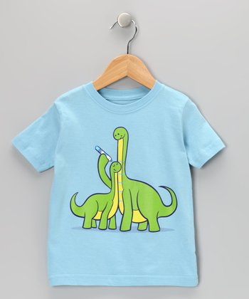 Light Blue Dinosaur Growth Chart Tee - Toddler & Kids