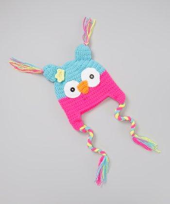 Light Blue & Pink Owl Crocheted Earflap Beanie
