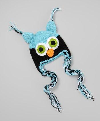 Light Blue & Black Owl Crocheted Earflap Beanie